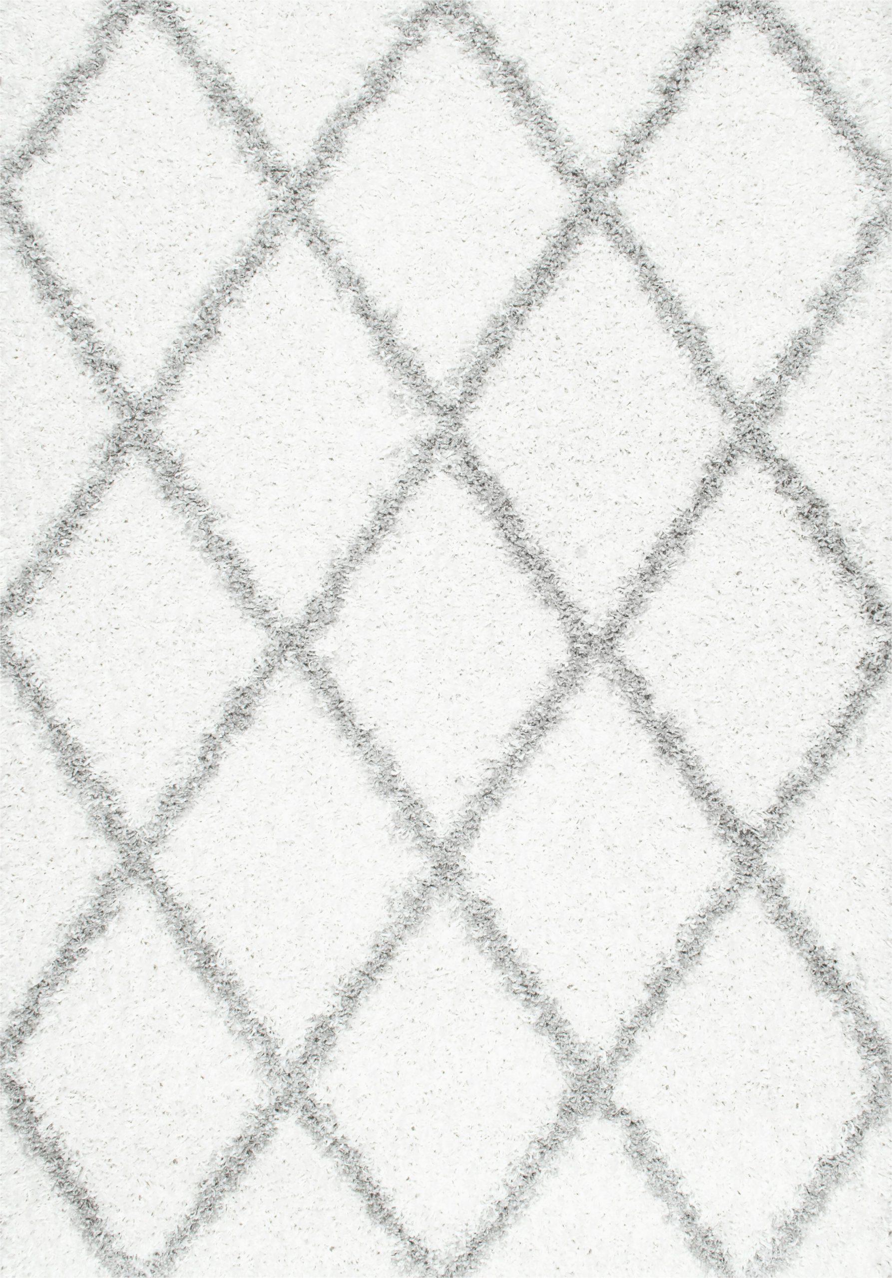 colona geometric shag white area rug