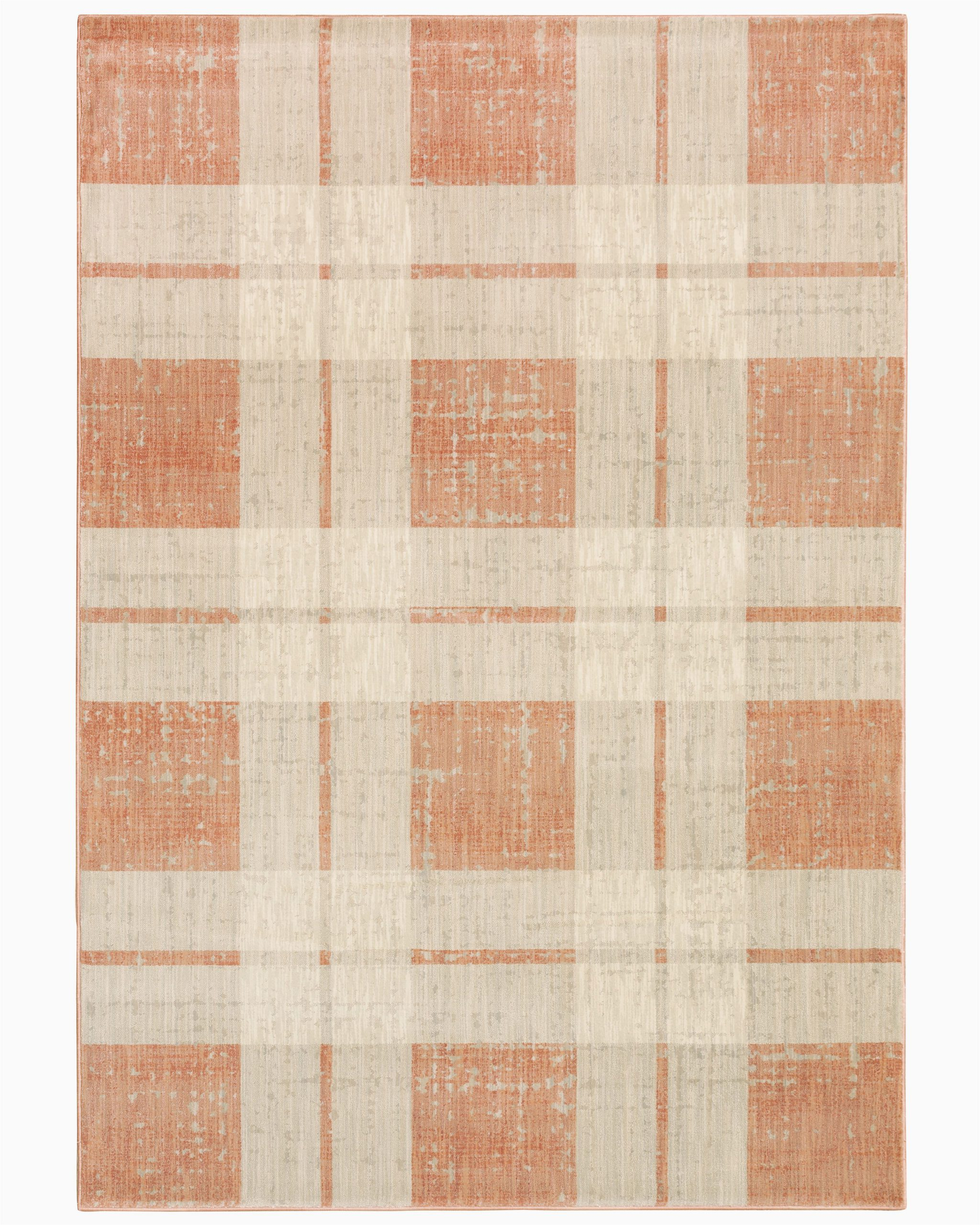 scotland plaid orangebeige area rug