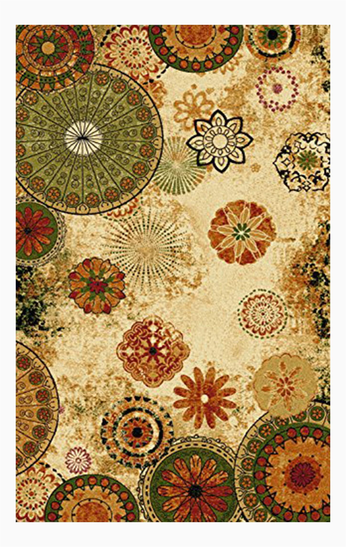 derlyum anti bacterial floral tufted yelloworangegreen area rug