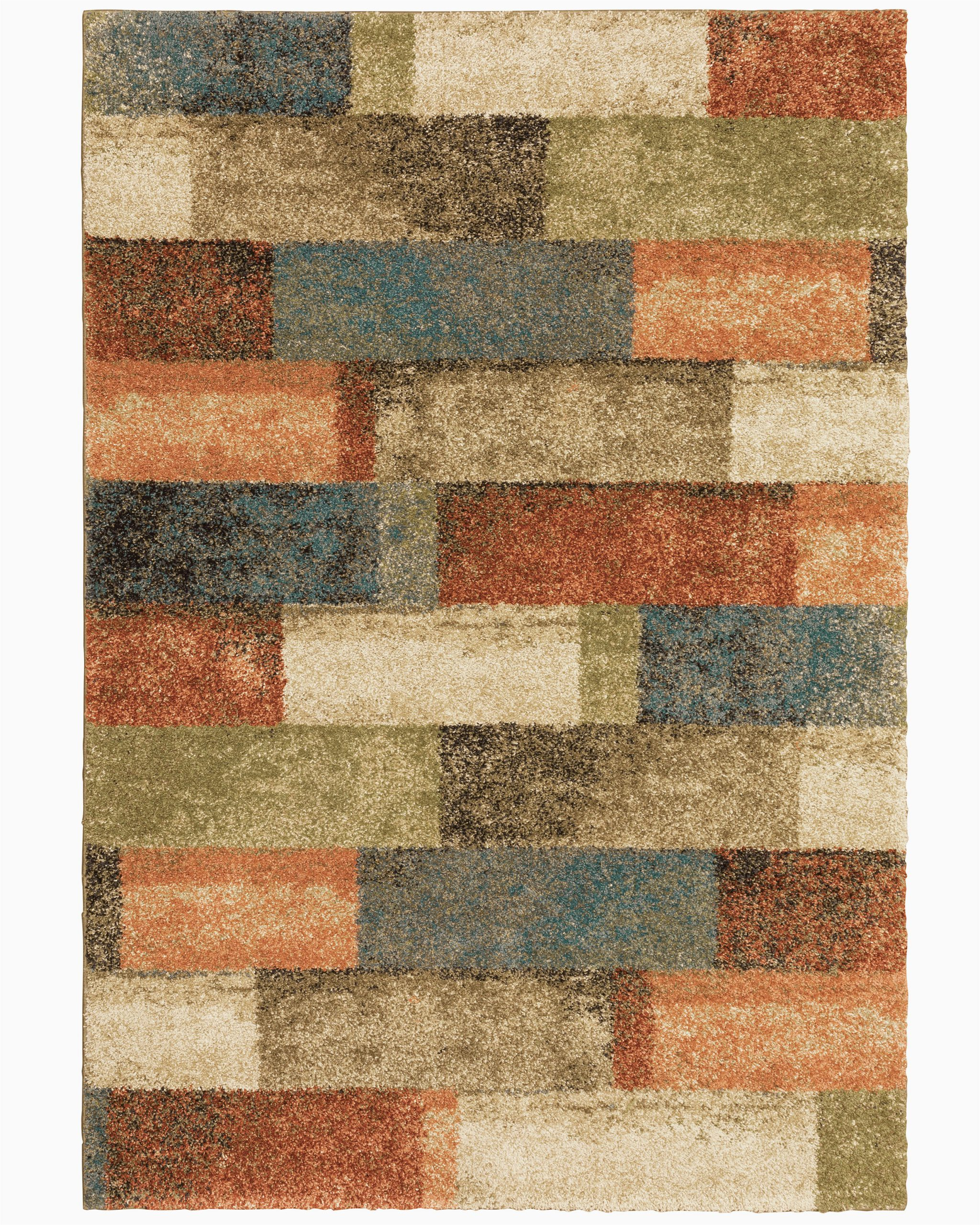 Orange and Green area Rugs Tigela Geometric orange Green area Rug