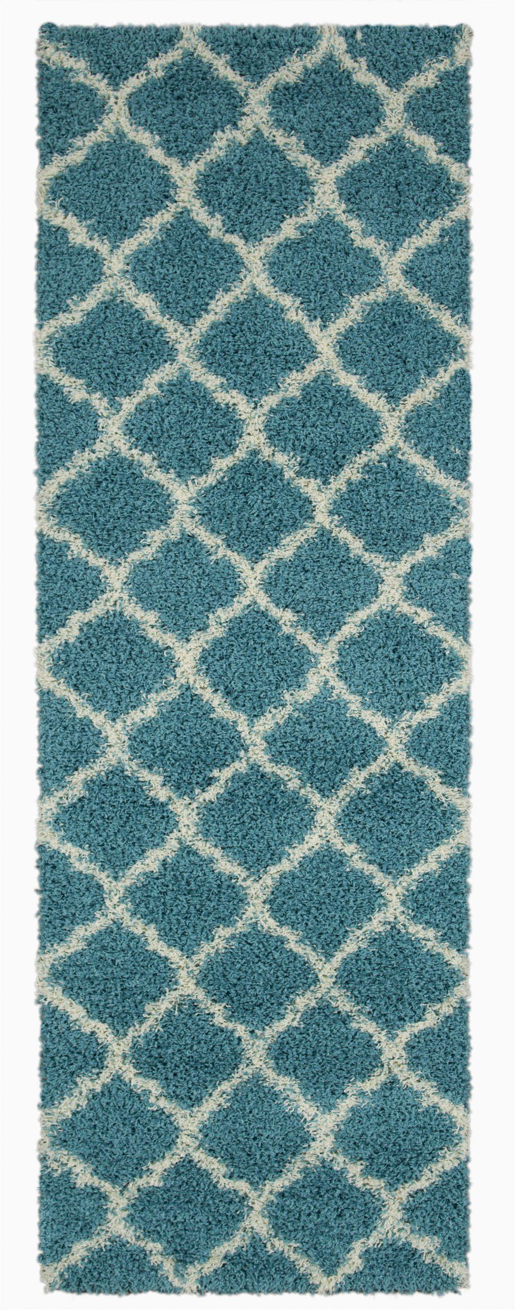 ottomanson ultimate shag collection moroccan trellis design contemporary hallway kitchen shag runner rugs turquiose blue 27x80
