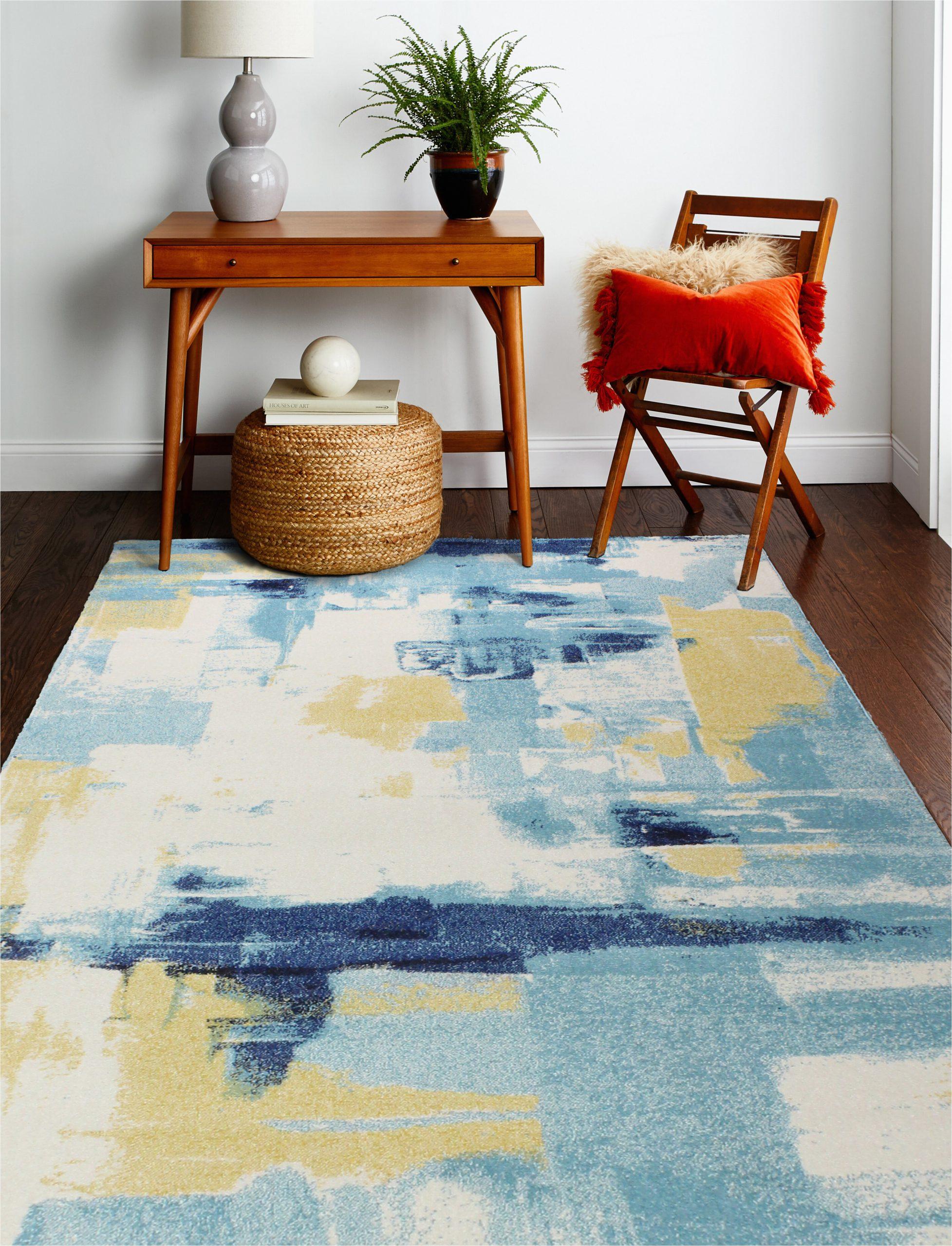 reasor abstract ivoryblue area rug