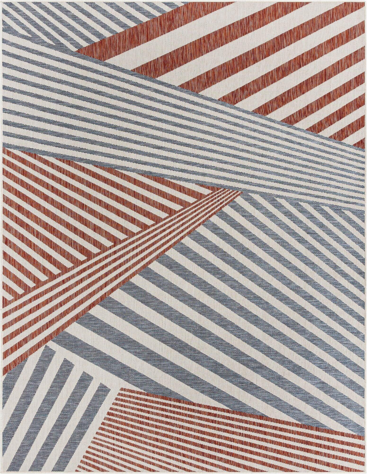 deadra striped bluewhitered indooroutdoor area rug