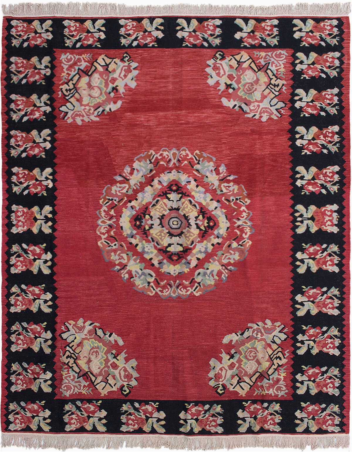 bauxite floral handmade flatweave wool redblackcream area rug