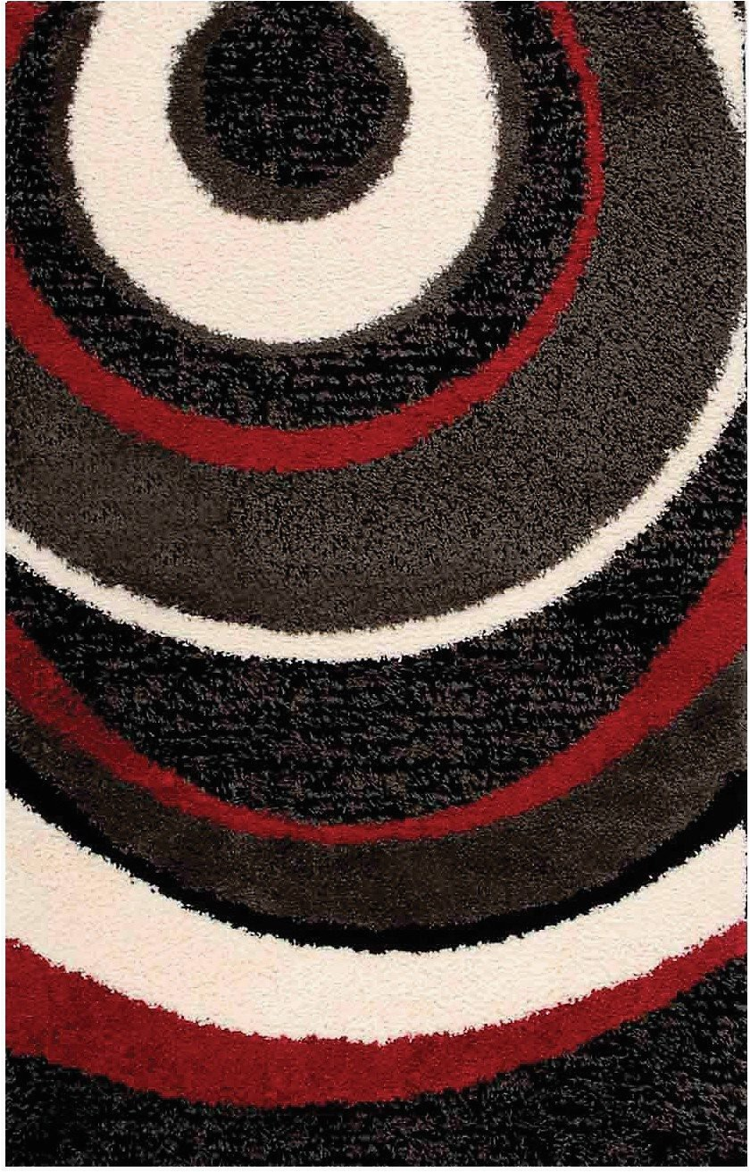 shaggy black charcoal red and cream area rug 8 x 11