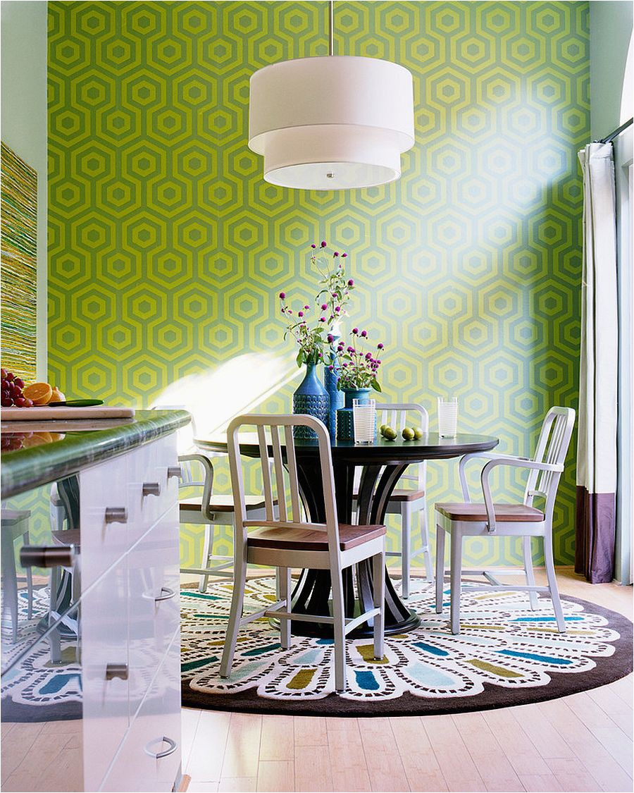 Who says dining room rugs need to be plain and boring