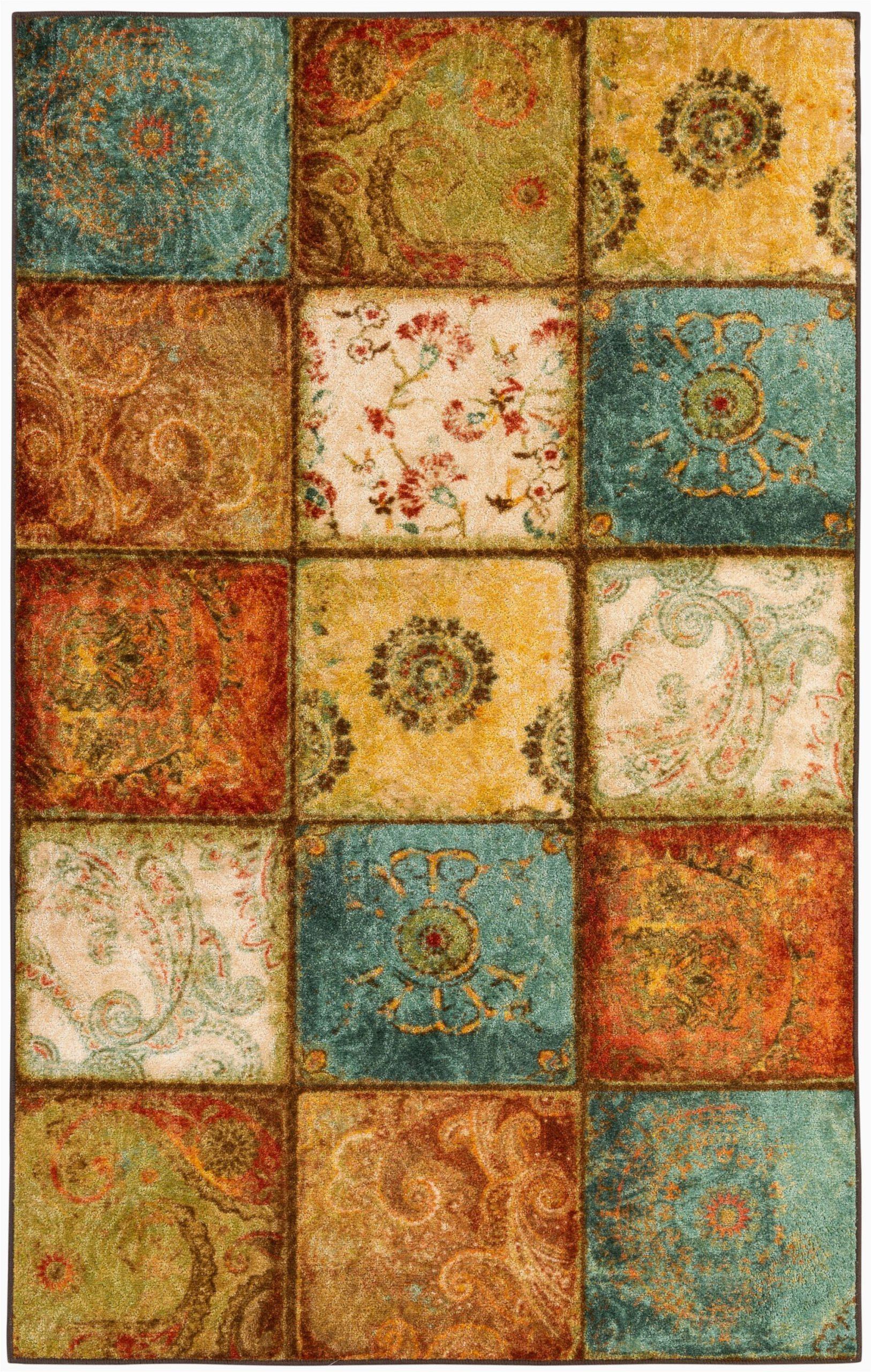 genevra floralgeometricpaisley rust redroyal bluegold area rug