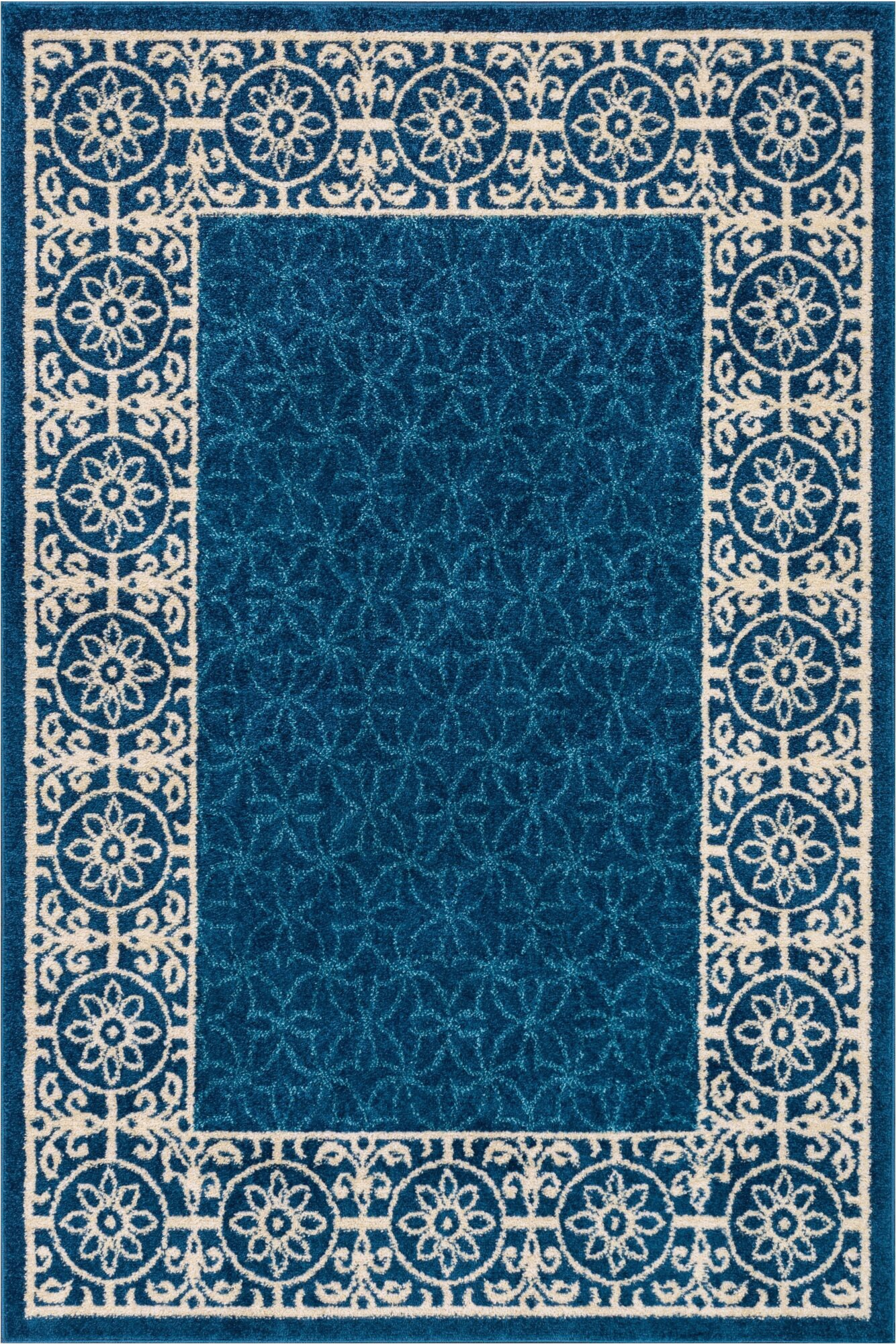 otterville geometric royal blueivory area rug