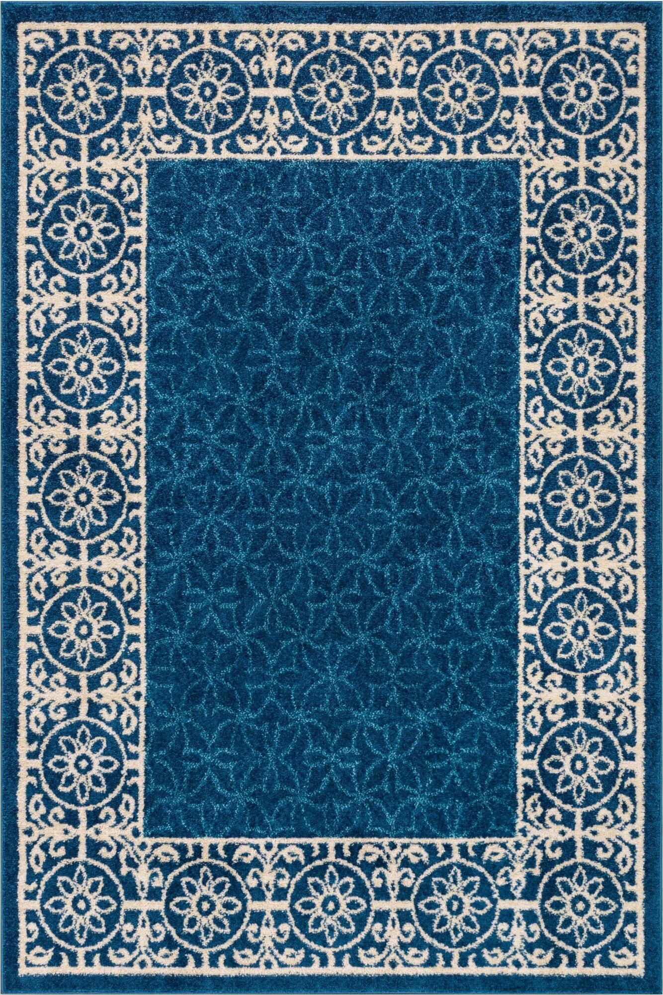 otterville geometric royal blueivory area rug