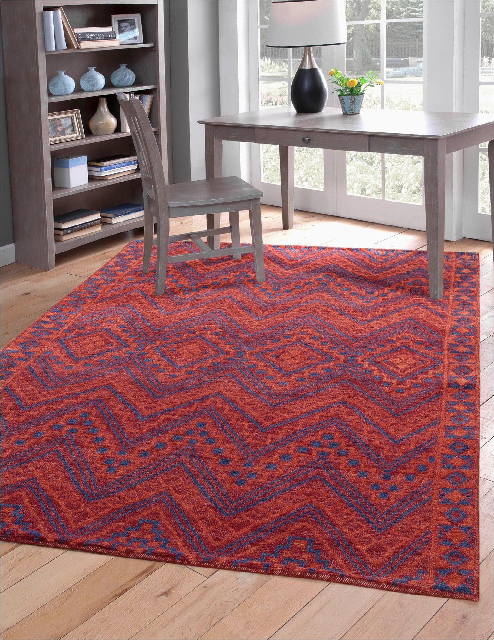 Red Orange and Blue Southwest Santa Fe Pattern Wool Area Rug 2048x