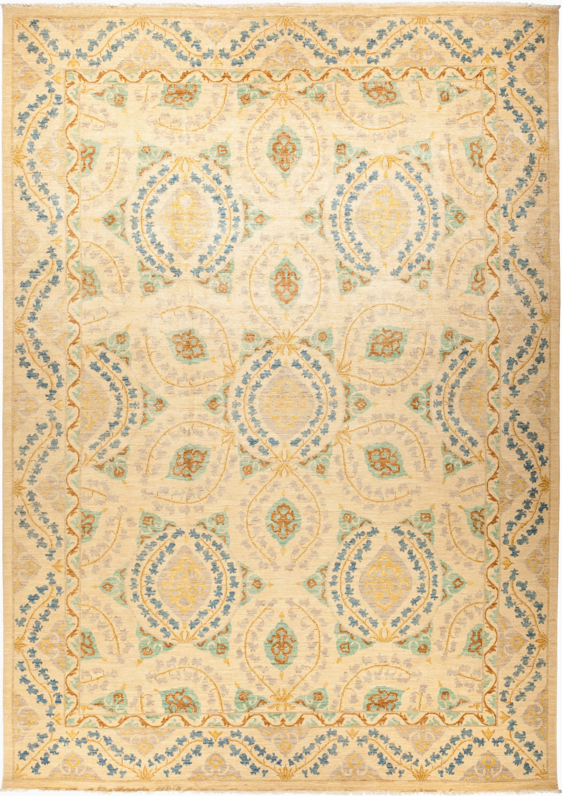 isabelline one of a kind devine hand knotted 10 x 144 wool beige area rug w