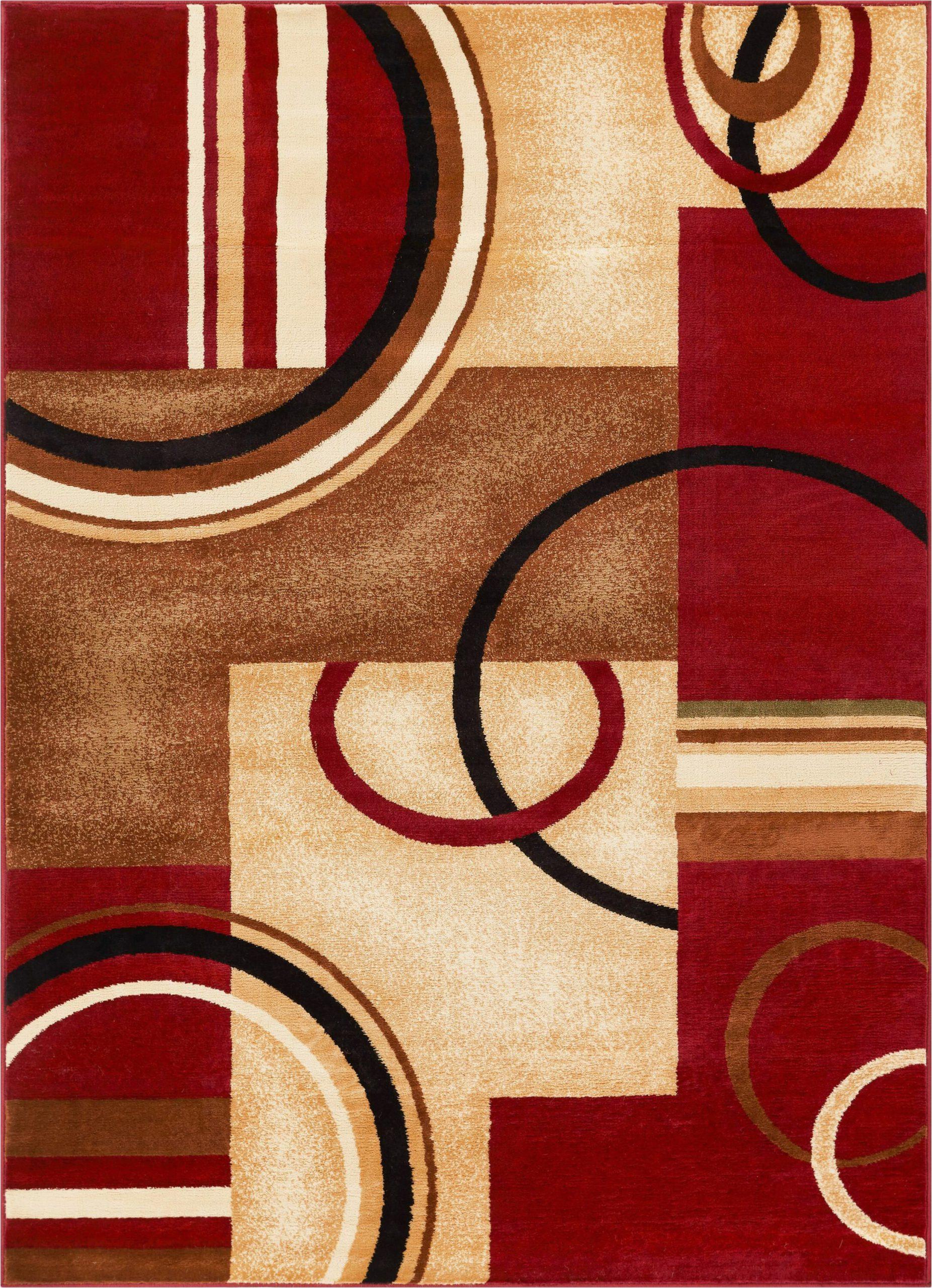daniel geometric red area rug