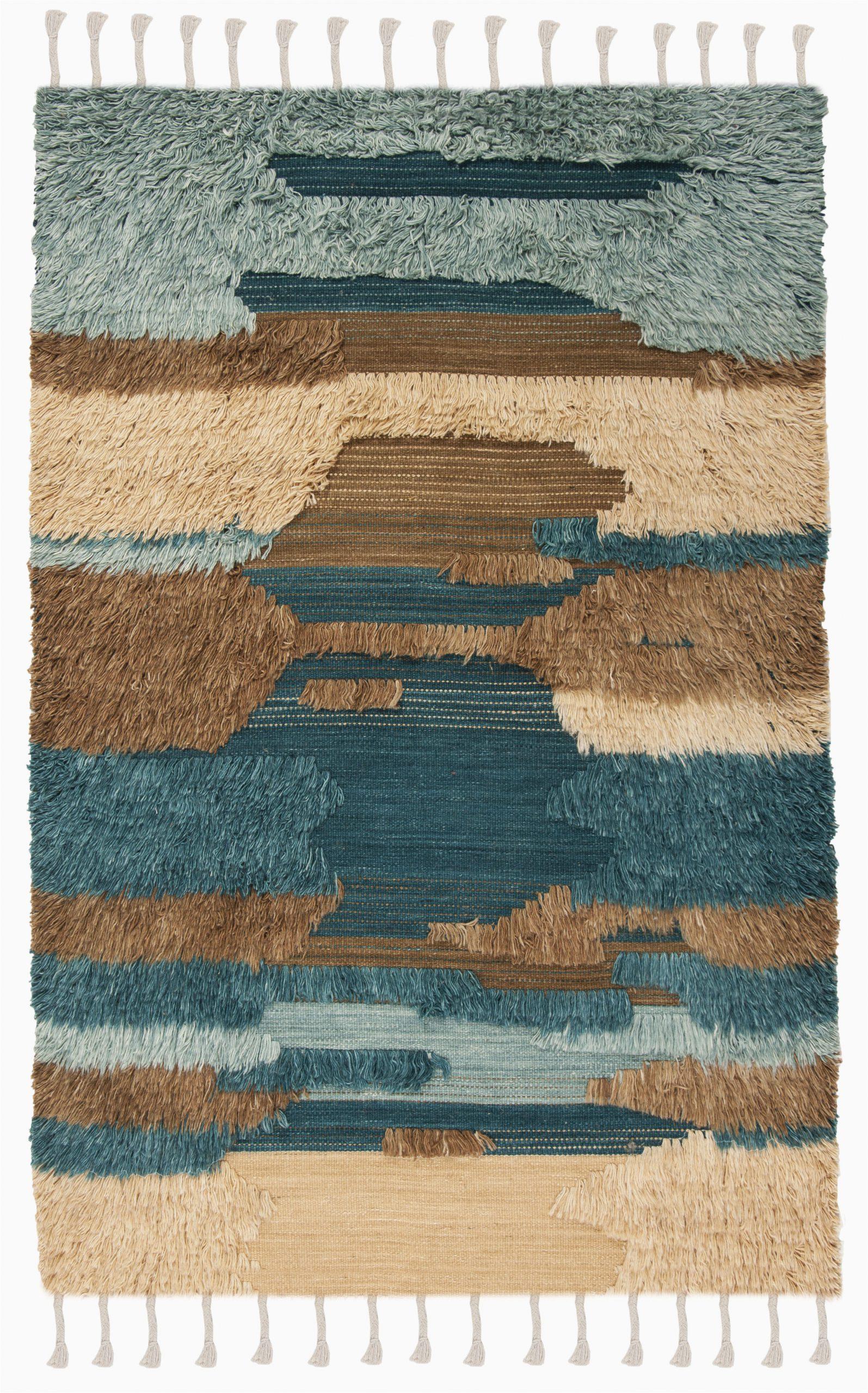 parinaaz hand knotted woolcotton bluebeigebrown area rug