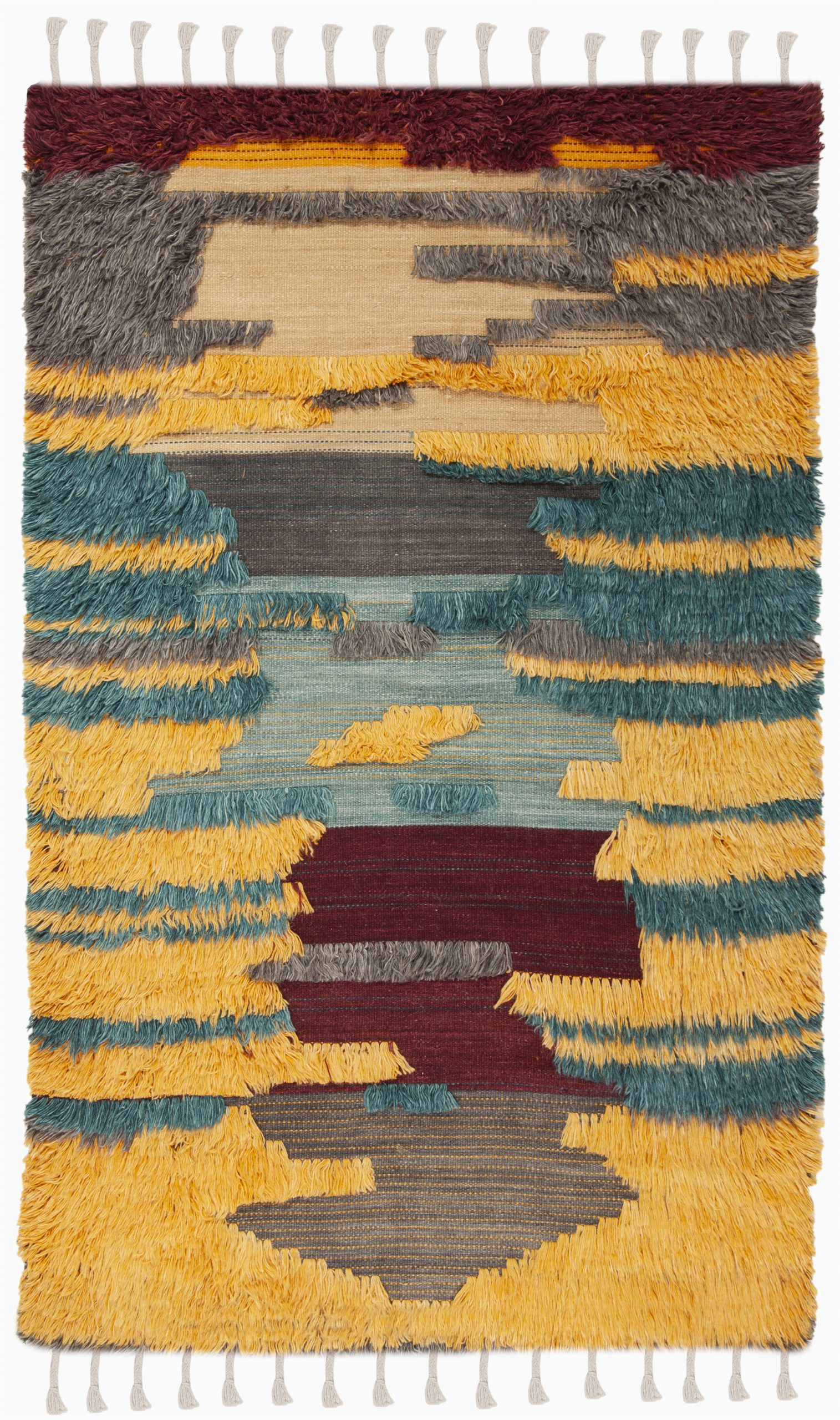 union rustic parinaaz hand knotted woolcotton yellowbrowngray area rug w piid=