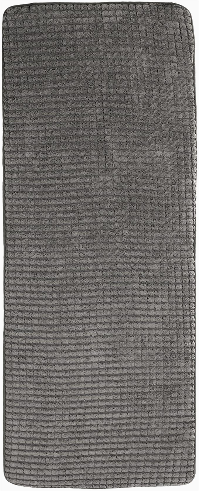 "24 X 60 Memory Foam Bath Rug 24""x59"" Memory Foam Extra Long Bath Mat by Lavish Home Woven Jacquard Fleece Platinum"
