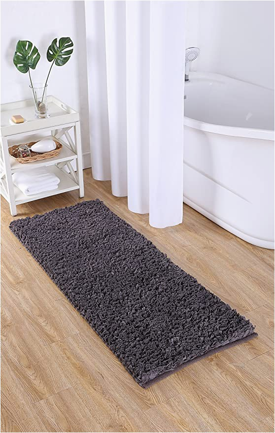 "24 X 60 Memory Foam Bath Rug Vcny Home Paper Shag Bathroom Rug 24"" X 60"" Gray"