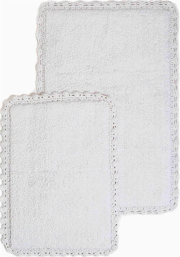 24 X 64 Bath Rug Crochet 2 Piece Bath Rug Set 21 by 34 Inch and 17 by 24 Inch White