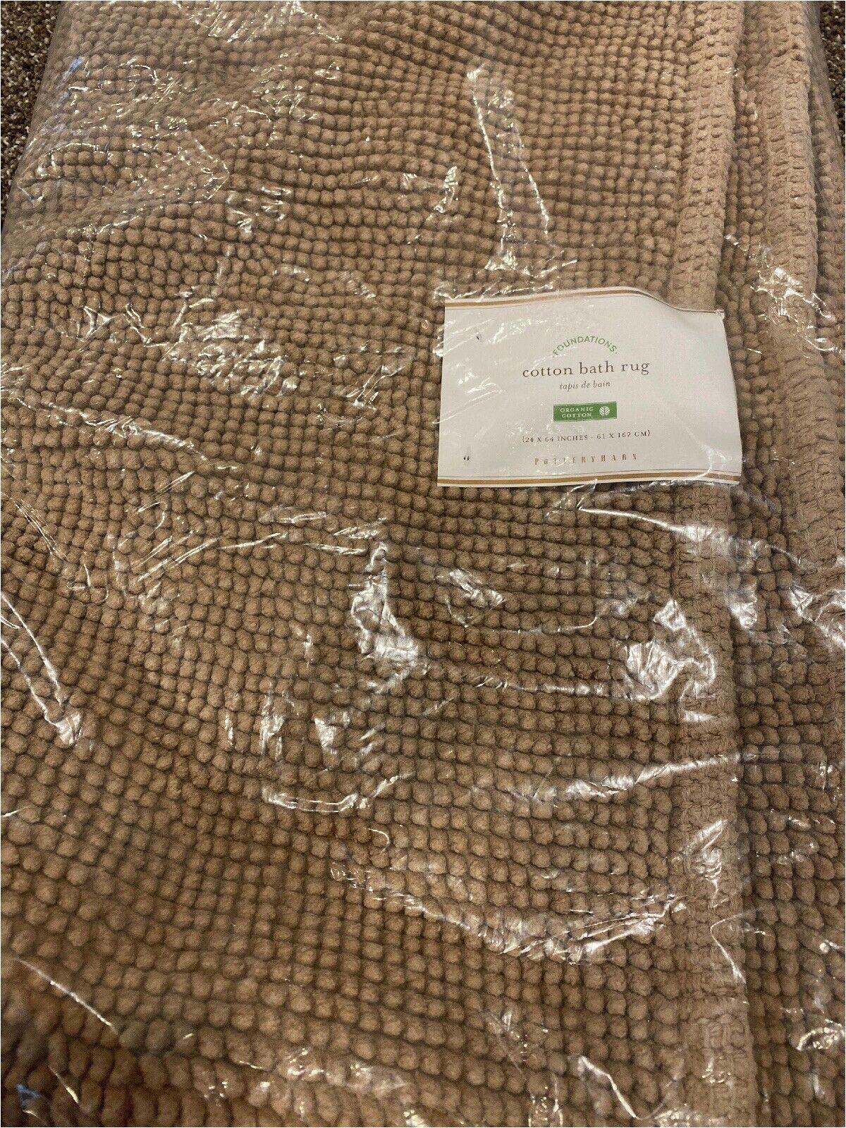 24 X 64 Bath Rug Pottery Barn Textured organic Cotton Bath Mat Rug Tan 24 X 64 Brand New