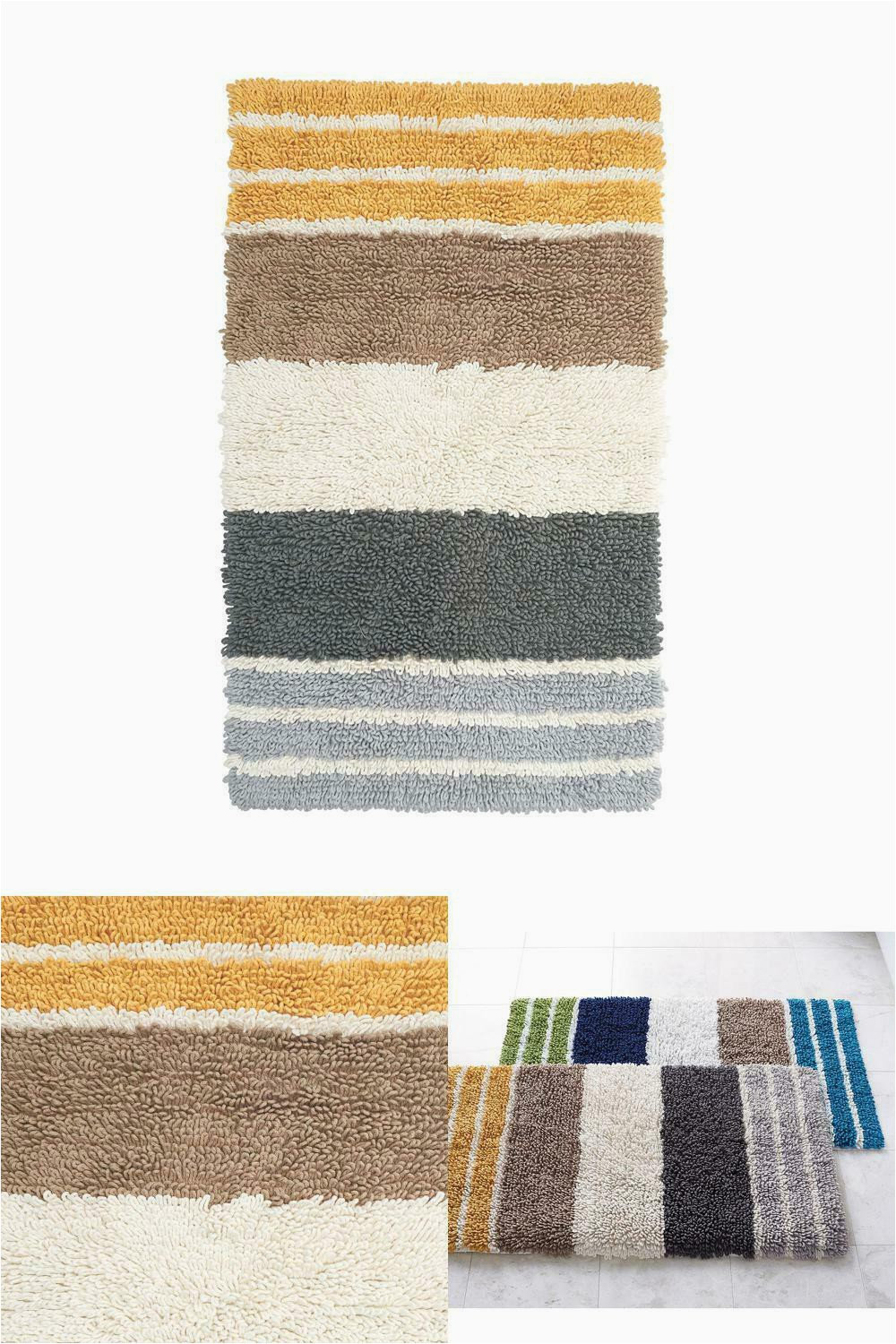 40 X 24 Bath Rug Chunky Loop Marigold Stripe 24 In X 40 In Cotton Bath Rug