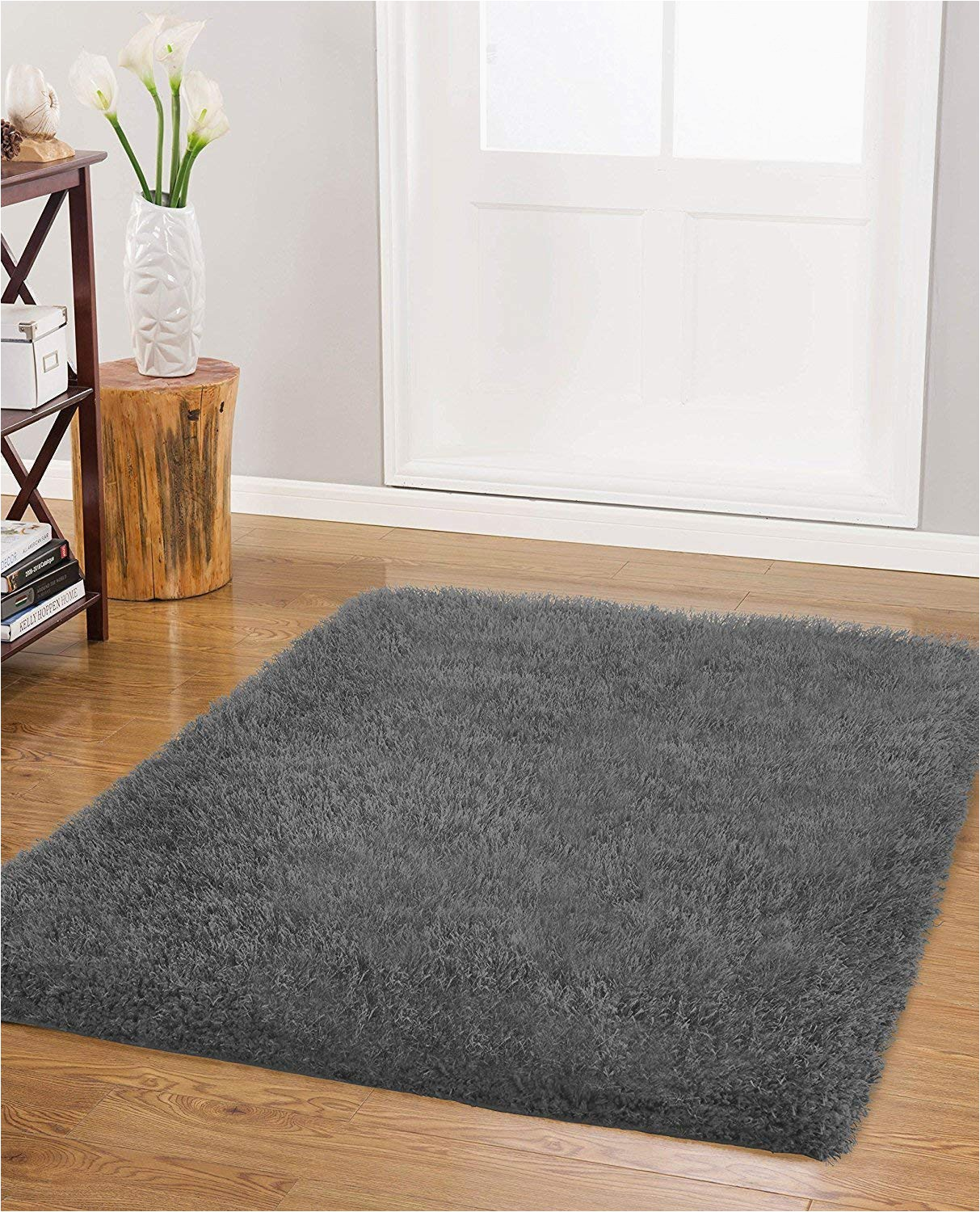 "40 X 24 Bath Rug Nothing Beyond Viola Polyster Shag Bath Rugs Collection 24"" X 40"" Dark Grey"