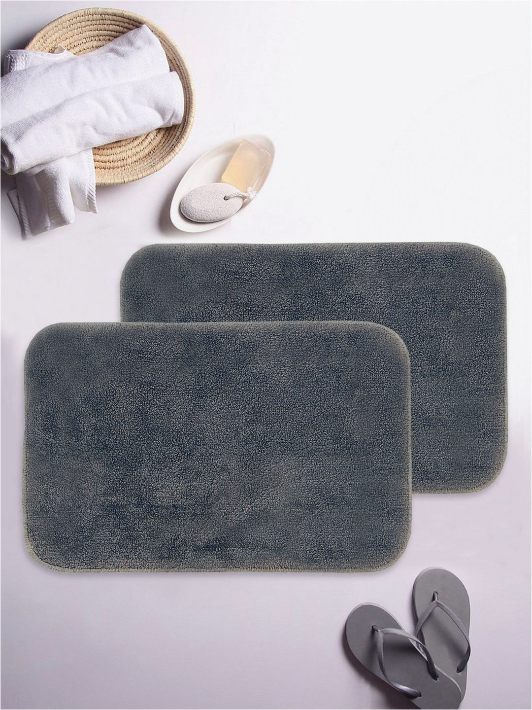 40 X 60 Bath Rug Bianca Cotton Anti Slip Bath Mat Set Of 2 60 X 40 Cm