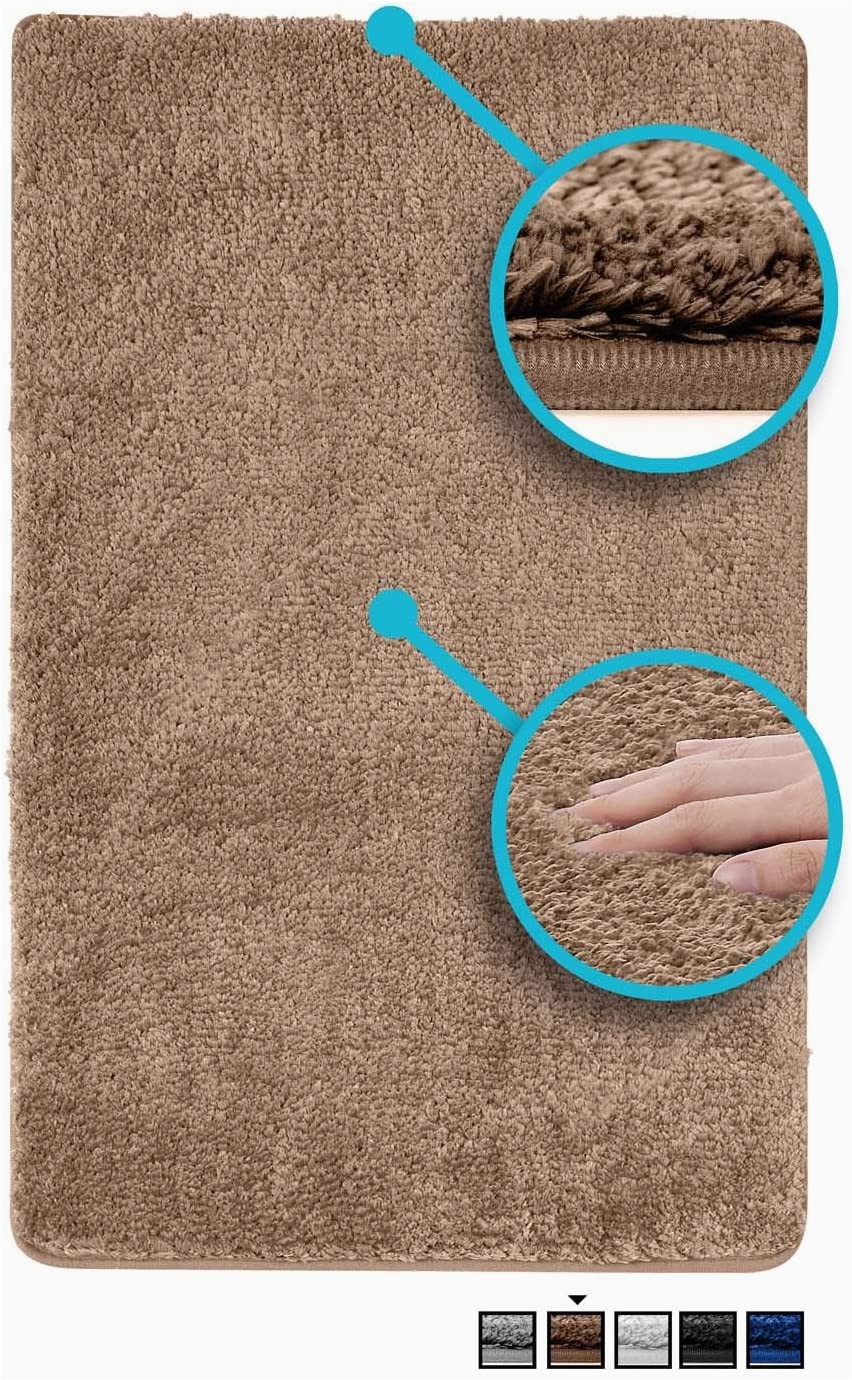 48 Inch Round Bath Rugs Luxe Rug Brown Plush Bathroom Rugs Bath Shower Mat 20 X 32 Inches W Non Slip Microfiber Super Absorbent Rug Alfombras Para Baños 1 Brown