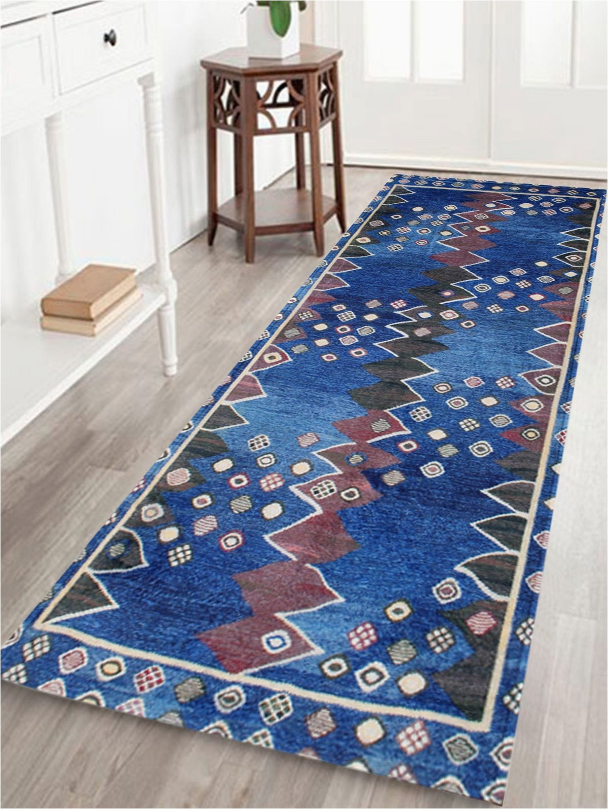 54 Inch Bath Rug Ethnic soft Velvet Bathroom Rug