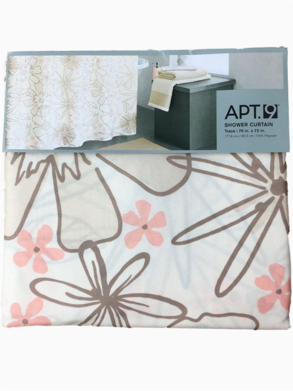 Apt 9 Bath Rugs Apt 9 Pretty Peach & Brown Flower Trace Fabric Shower Curtain Floral Bath Walmart