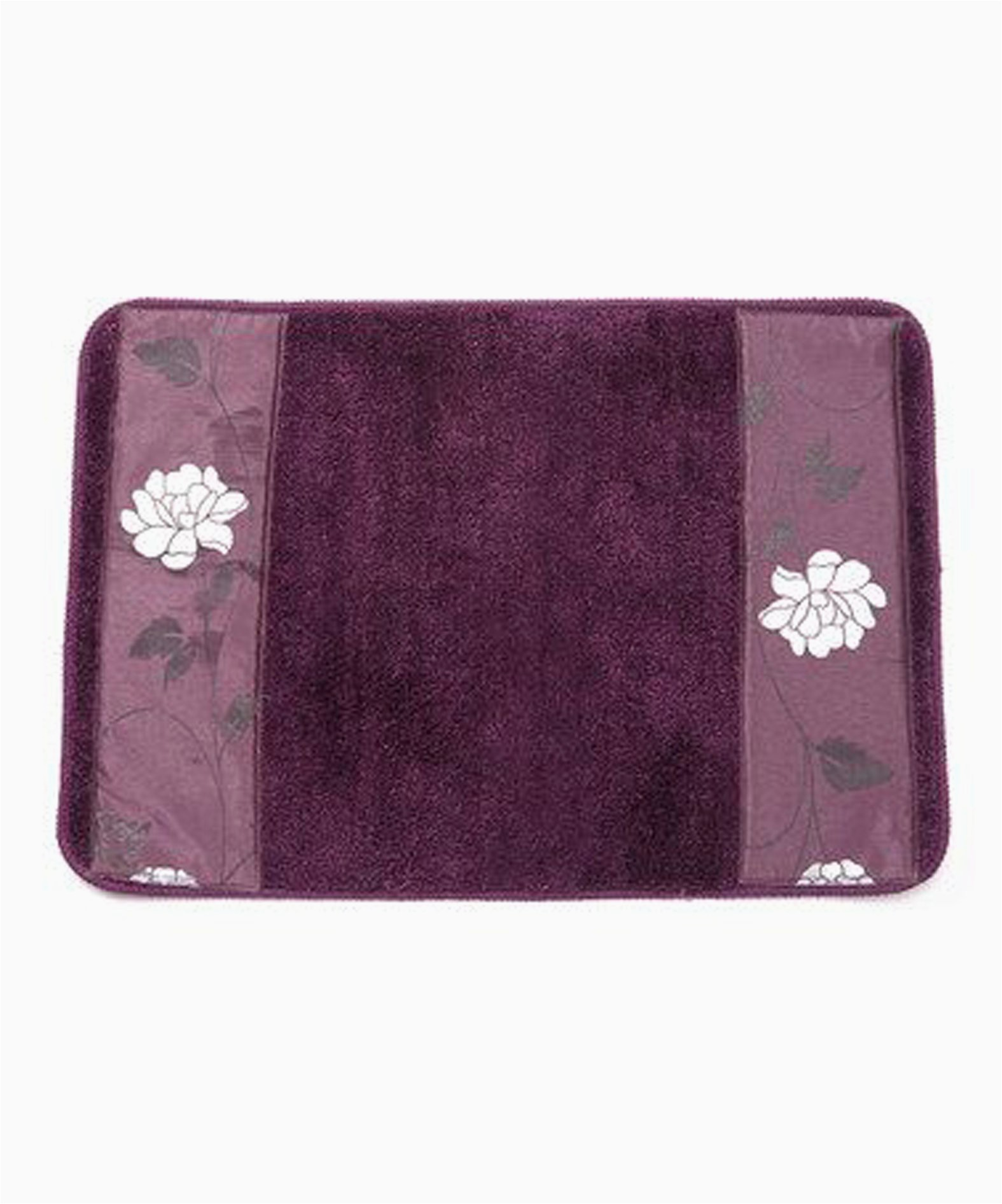 popular home the avanti collection banded bath rug purple 21 by 12 by 1
