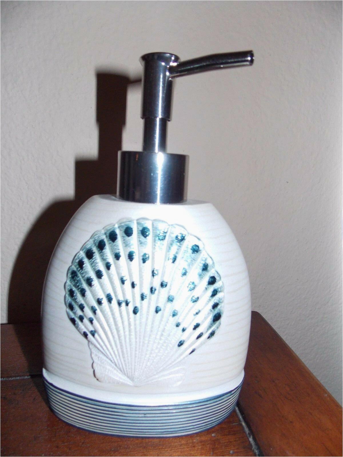 Avanti Sequin Shell Bath Rug New Avanti Hampton Shells Blue Beach soap Dispenser