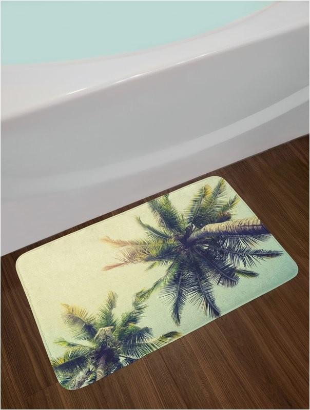 coconut palm tree bath rug