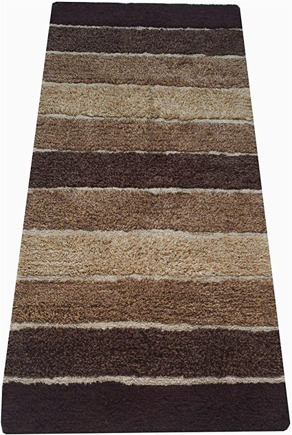 "Bath Rug Runner 20 X 60 Chardin Home Cordural Stripe Bath Rug Runner with Skid Resistant Latex Spray Underneath Brown Beige 24"" W X 60 L"