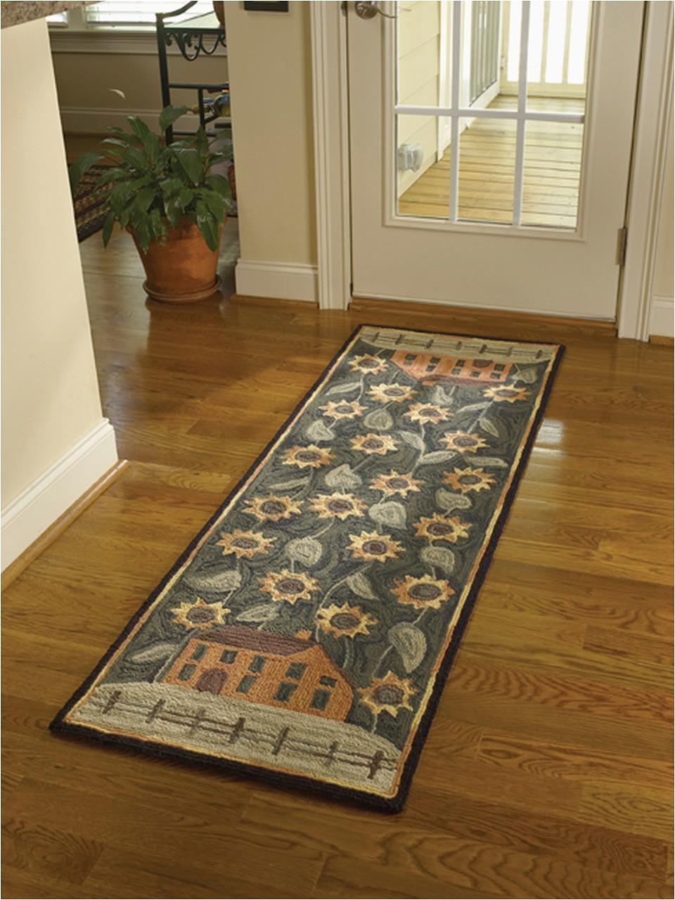450 37 house sunflower hooked rug runner size 24 x 72