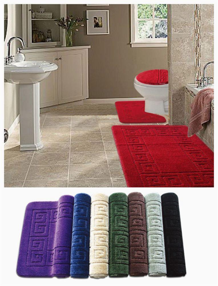 Bath Rug Sets with Elongated Lid Cover 3pc Bathroom Rug Mats Bath Set Bath Mat Contour Rugs