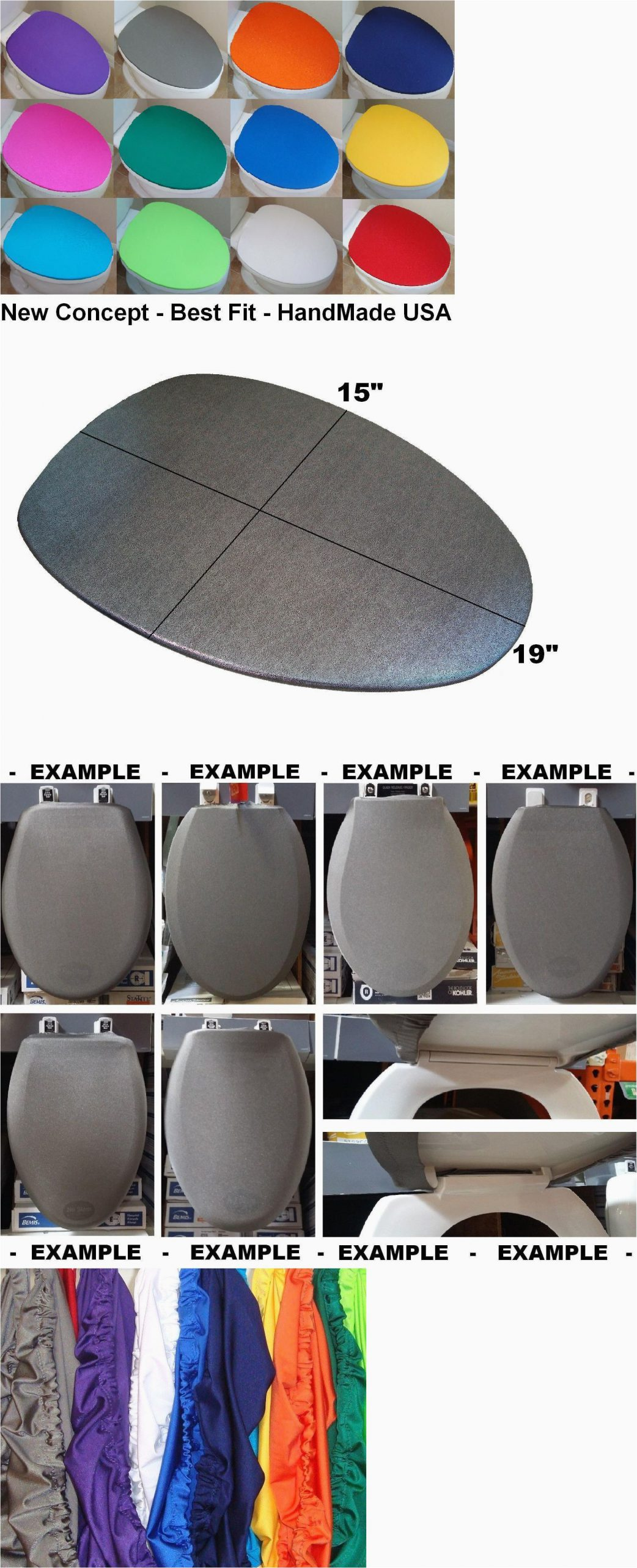 Bath Rug Sets with Elongated Lid Cover Fabric Lid Cover toilet Seat for Standard & Elongated