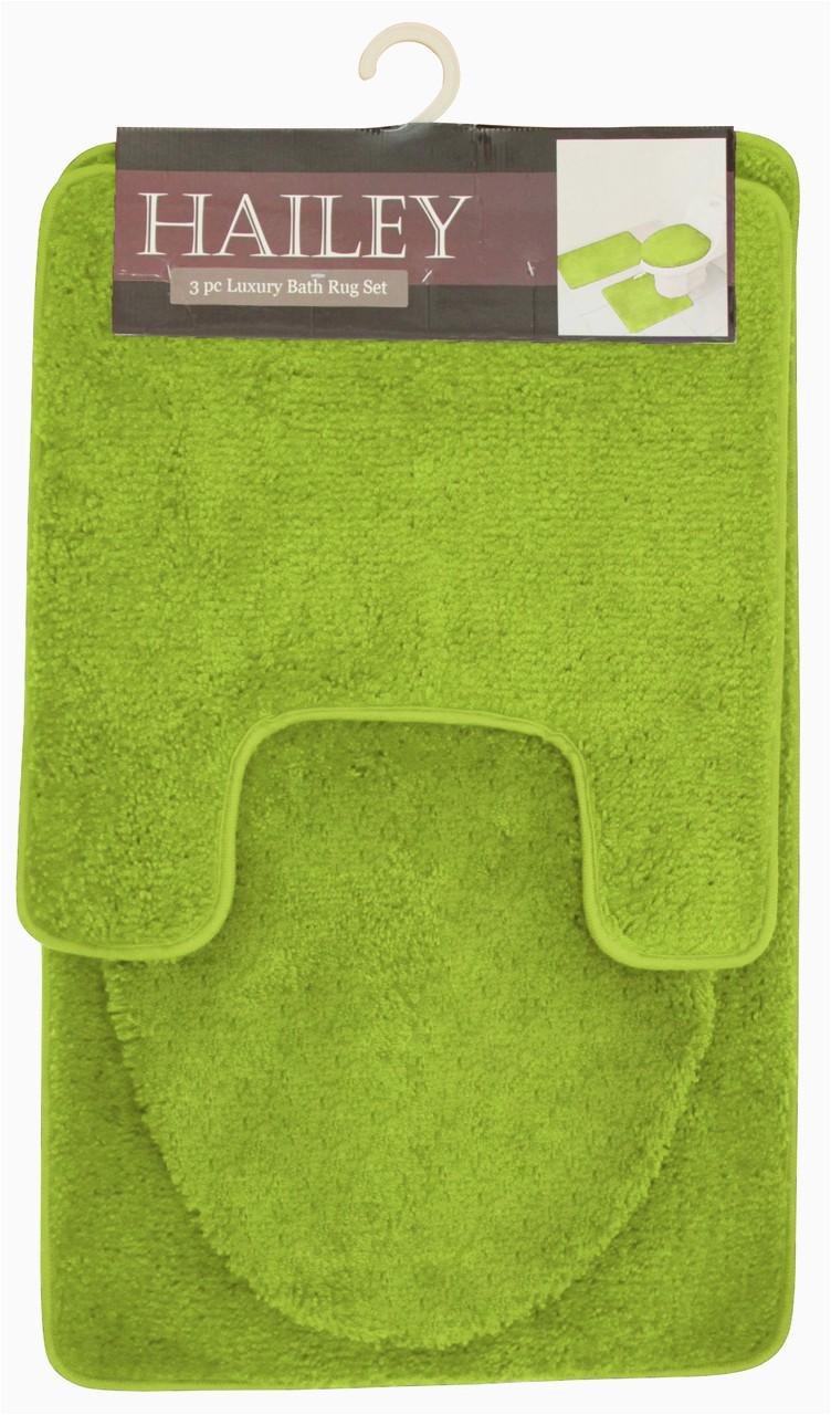 Bath Rug Sets with Elongated Lid Cover Hailey 3 Piece Bathroom Rug Set Bath Mat Contour Rug toilet Seat Lid Cover [olive]