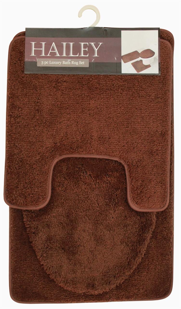 Bath Rug Sets with Elongated Lid Cover Hailey 3 Piece Bathroom Rug Set Bath Mat Contour Rug toilet Seat Lid Cover [orange]