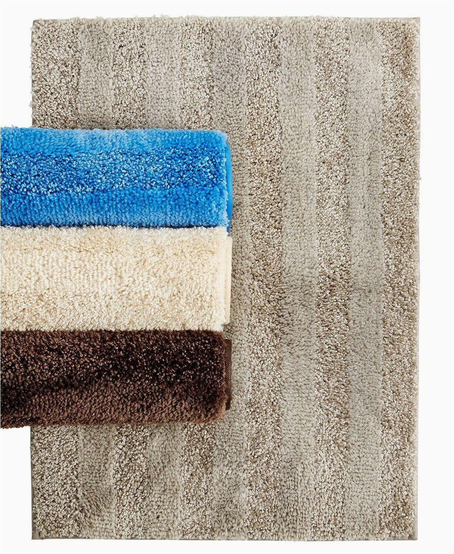 "Bee and Willow Lavish Plush Bath Rug Mohawk Home Luster Stripe 20"" X 34"" Skid Resistant Bath Rug Oxford Tan"