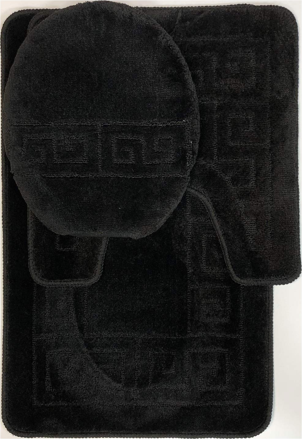 wpm world products mart 3 piece bath rug set pattern bathroom rug 20 x 32 large contour mat 20 x 20 with lid cover black