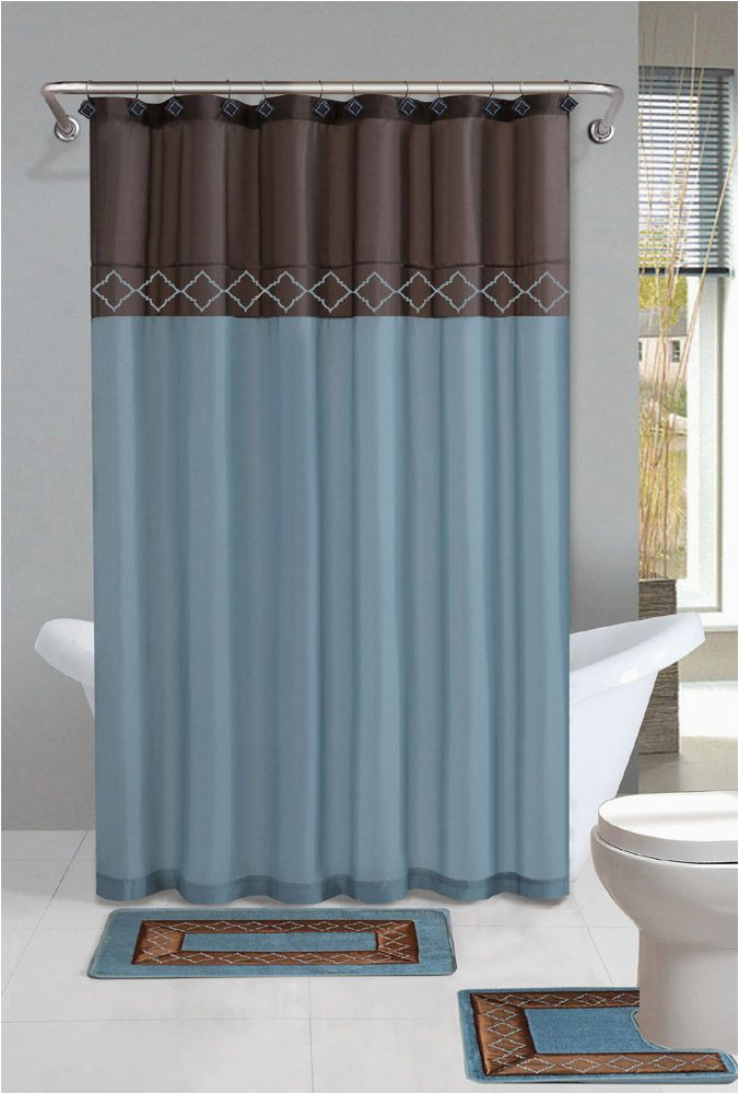 Blue and Brown Bath Rugs Home Dynamix Designer Bath Shower Curtain and Bath Rug Set