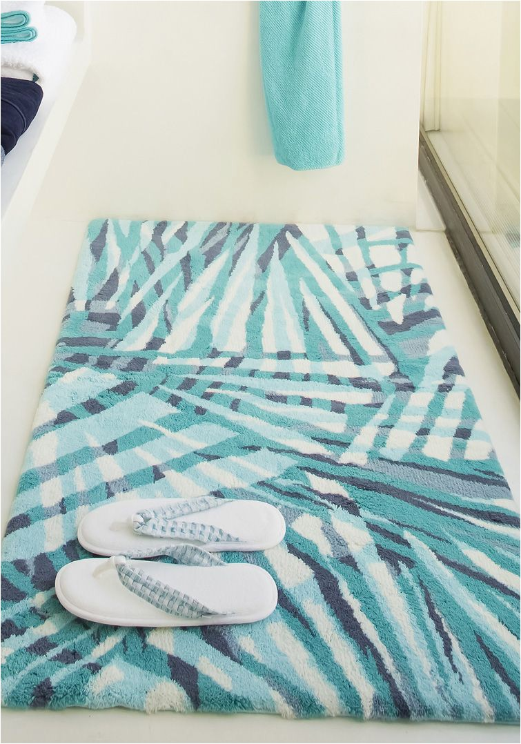 Blue Bath towels and Rugs Eden Bath Mat by Abyss & Habidecor Teal Geometric Design
