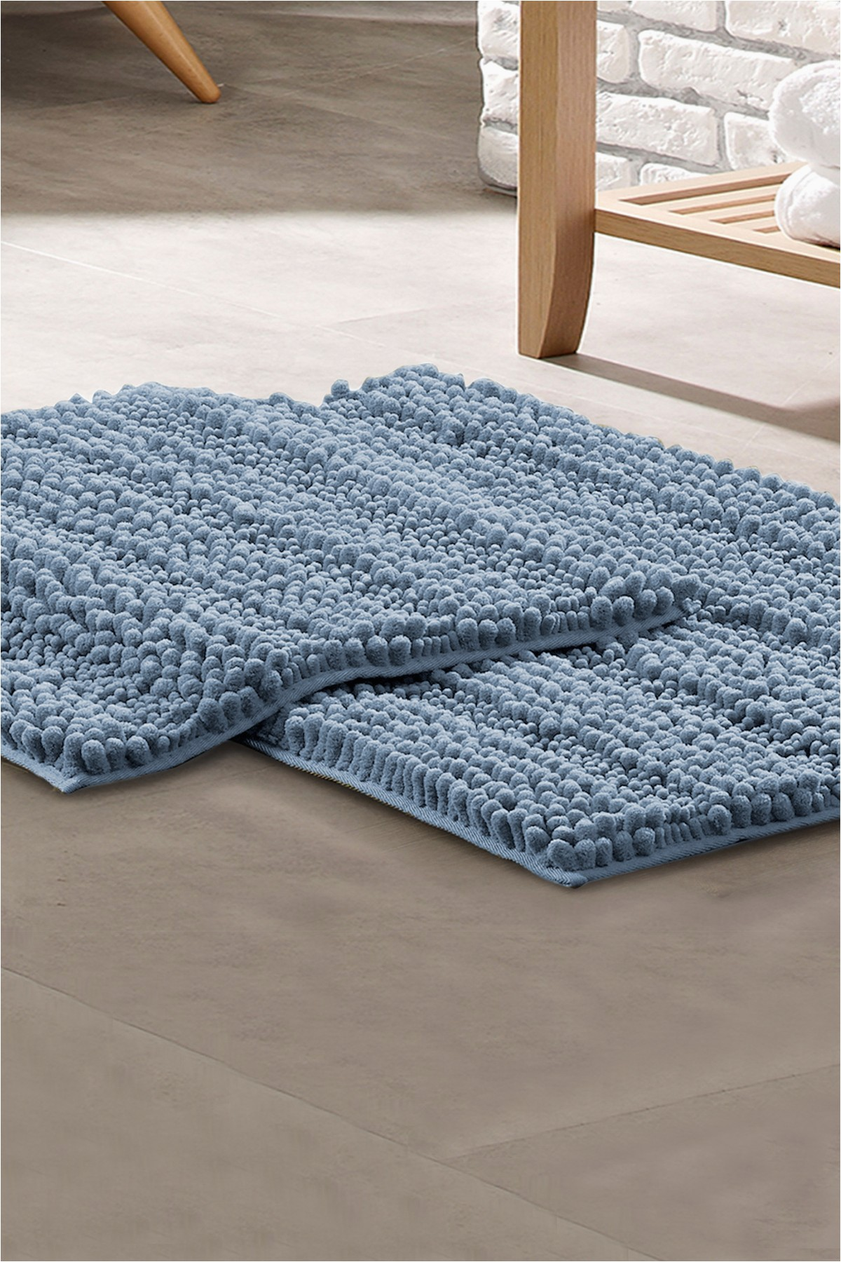 modern threads chenille noodle bath mat 2 piece set blue