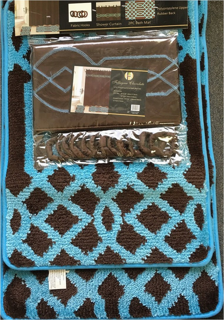 Brown and Blue Bath Rugs 4 Piece Bath Set Chocolate Brown Turquoise Blue Polypropylene Mats Shower Curtain and Fabric Hooks Fillagree
