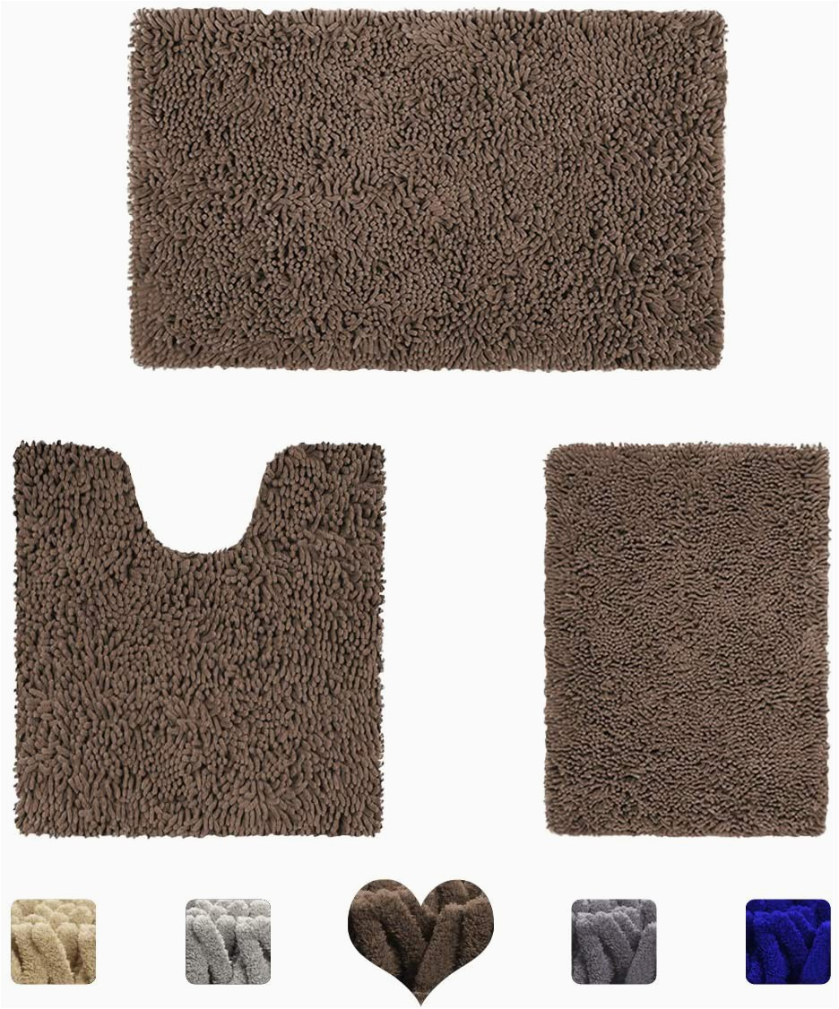 Brown and Blue Bath Rugs Amazon Homeideas Value 3 Pieces Bathroom Rugs Set Grey