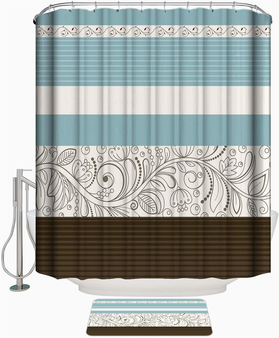Brown and Blue Bath Rugs Amazon Leotear Shower Curtain Set with Bath Rug Flroal