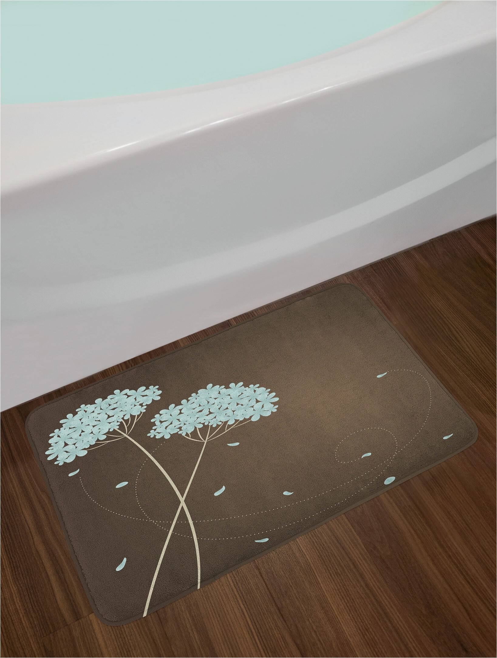 brown and blue bath rug
