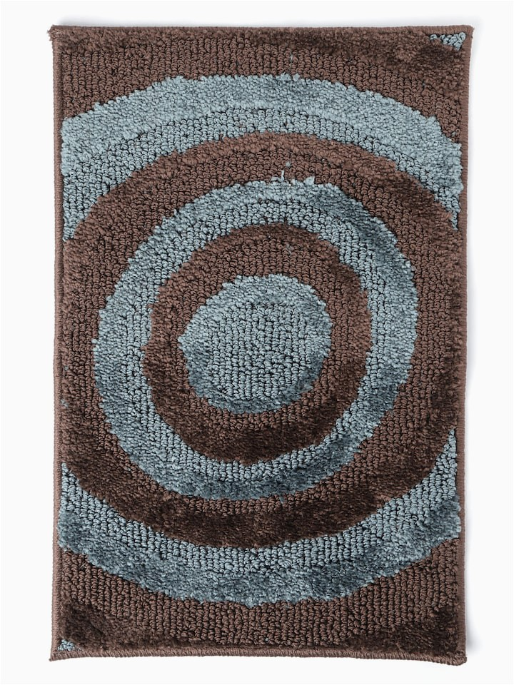 Brown and Blue Bath Rugs Spaces Brown & Blue Circular Patterned Bath Rug