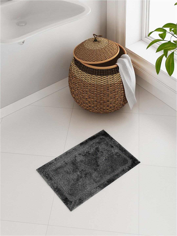 Charcoal Grey Bath Rugs Spaces Elan Charcoal Grey Cotton Rectangular Bath Rug