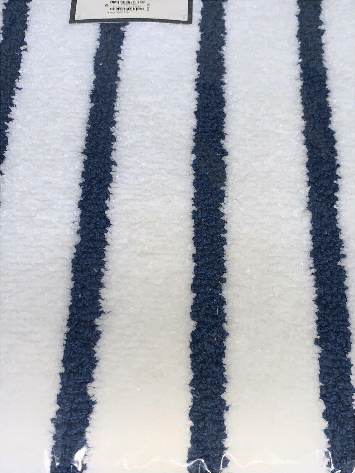 "Charter Club Bath Rugs Charter Club Elite Bath Mat Stripe 19 3"" X 34"" Fashion Bath Rug Blue & White"