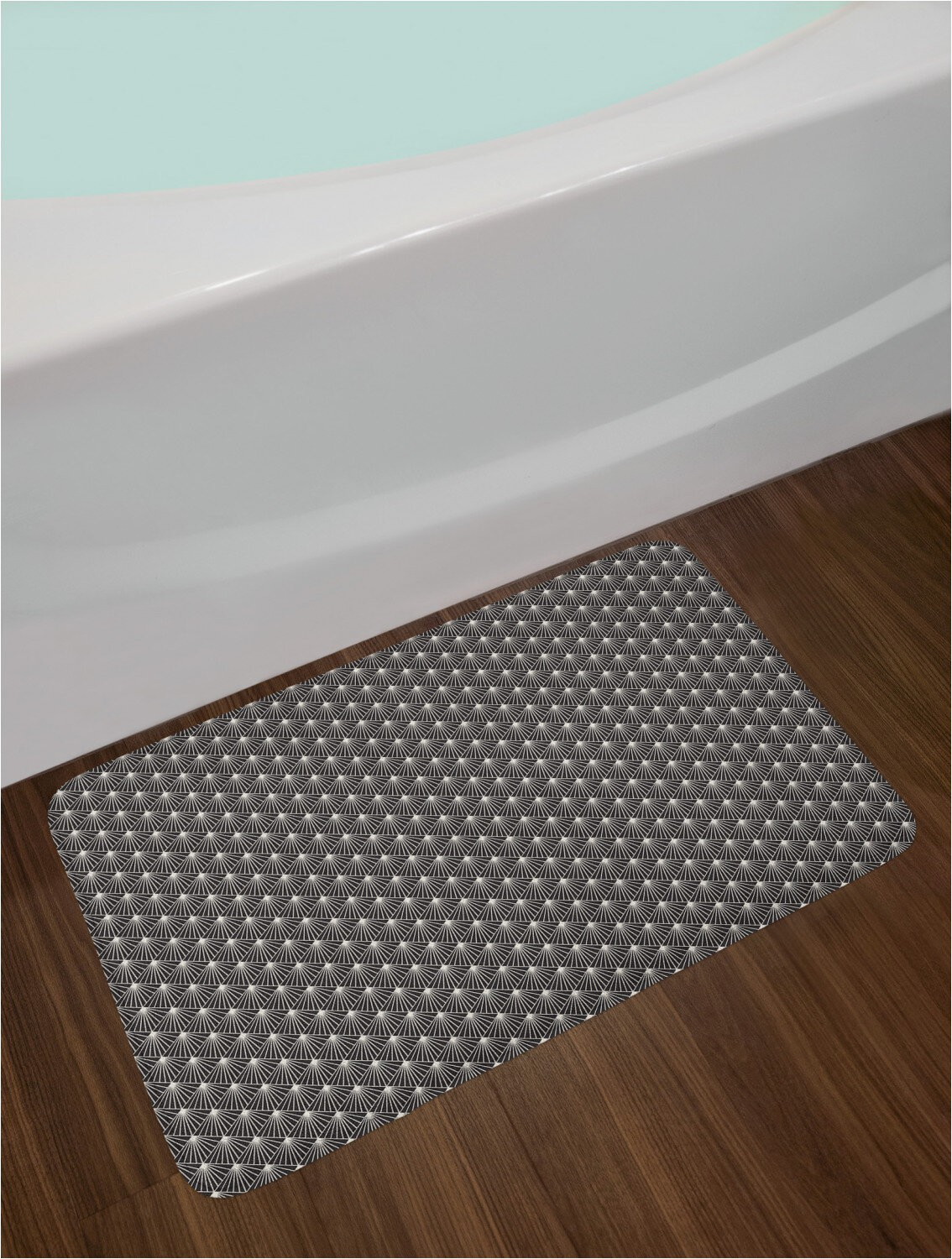 burst lines with rhombus gridin monochrome bath rug